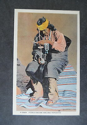 1940s Pueblo Indian Drilling Turquoise Fred Harvey Postcard