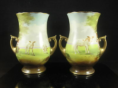 Fabulous Pair of Royal Doulton Cattlle Vases Hand Painted by Joseph Hancock