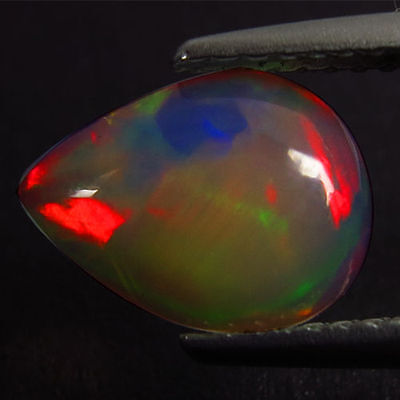 0.90Cts Fabulous Stunning Red Blue Multi Colour Natural Opal Pear Free Shipping