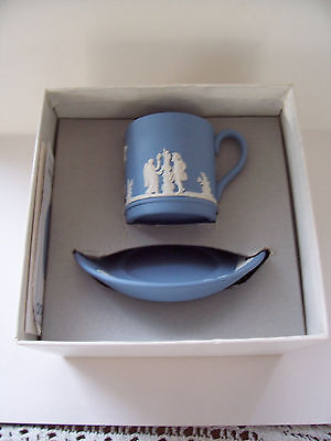 Wedgwood  Blue jasperware Coffee cup/saucer in excellent condition.