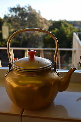 Gold Anodised Small Vintage Teapot Mini Kettle & Strainer holds over 2 cups MIJ