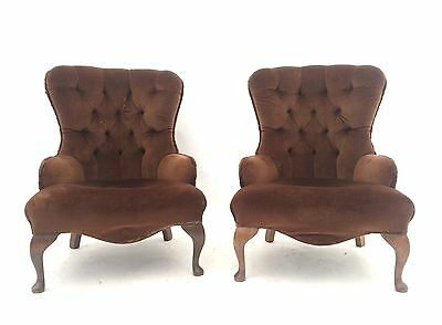 Pair of Vintage French Oak Chesterfield Armchairs Rustic Antique Bedroom Chairs