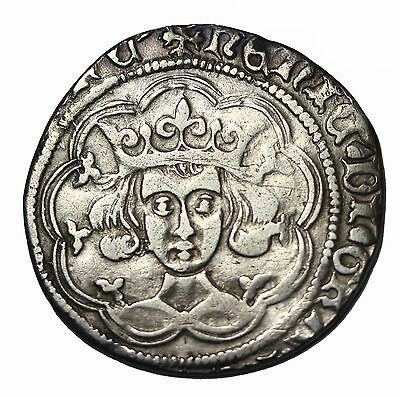 Great Britain Henry VI 1422-1461 AD Silver Groat Medieval Coin S.1859 Calais Mt.