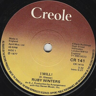 """Ruby Winters I Will! (15228) 7"""" Single 1977 Creole Records CR 141"""