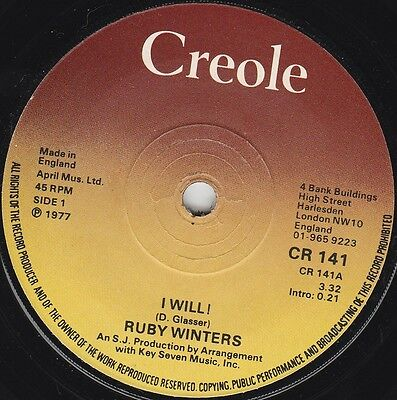 """Ruby Winters I Will! (15243) 7"""" Single 1977 Creole Records CR 141"""