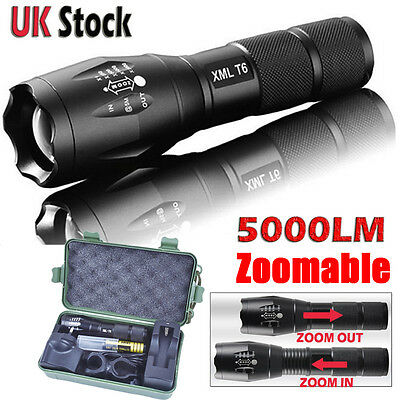 5000Lm Police LED Flashlight XM-L T6 Tactical X800 G700 Torch 18650 Lamp Zoom UK