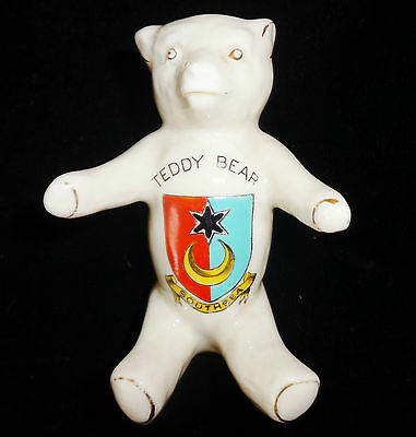 Arcadian Crested Ware China Teddy Bear Southsea Vintage Antique