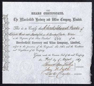 Macclesfield Brewery and Wine Co. Ltd., A or B share, 1867