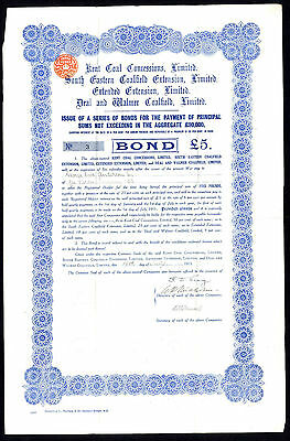 Kent Coal Concessions and 3 others, 6% £5 Bond, 1915