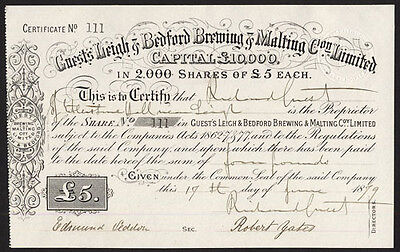 Guest's Leigh & Bedford Brewing & Malting Co. Ltd., £5 shares, 1879