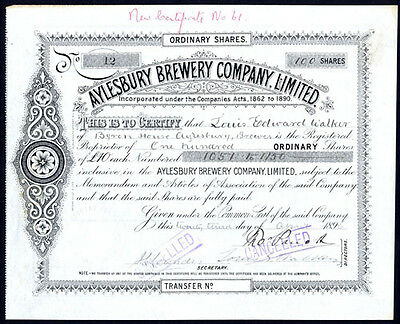 Aylesbury Brewery Co., £10 shares, 1896