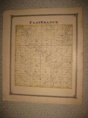 Antique 1875 Flat Branch Township Shelby County Illinois Handcolored Map Rare Nr