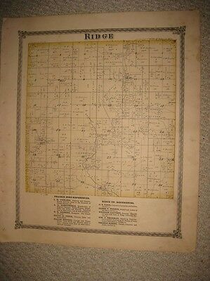Antique 1875 Ridge Township Shelby County Illinois Handcolored Map Rare Superb N