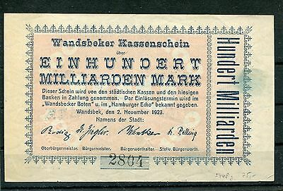 Wandsbek 100 Milliarden Mark vom 2.11.1923