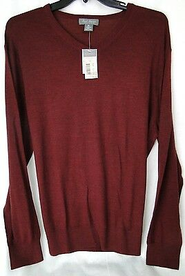Men's V-Neck Sweater 100% Wool in Red Wine MSRP $125 NWT Nice - XL