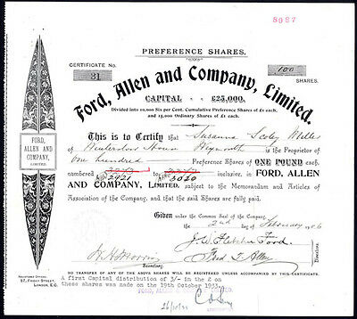 Ford, Allen and Co. Ltd., £1 Preference shares, 1906