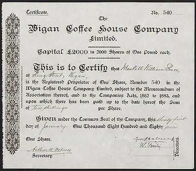 Wigan Coffee House Co. Ltd., £1 share, 1887
