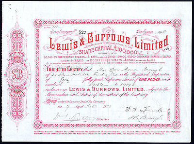 Lewis & Burrows Ltd., £1 preference shares, 1903, DRUG STORES IN LONDON