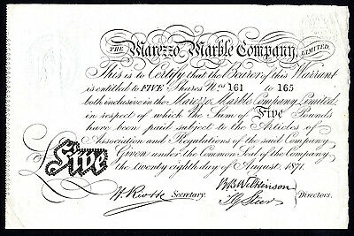 Marezzo Marble Co., 5 £5 shares, 1871, imitation marble for scagliola