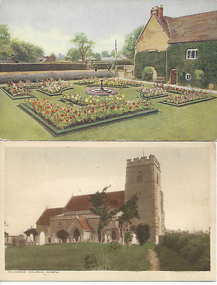 vintage postcards Sulgrave Manor and Church, Northamptonshire, UK