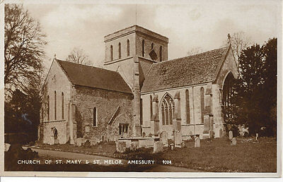 vintage real photo postcard  Church of St Mary & St Melor, Amesbury UK