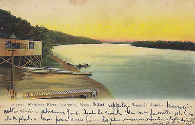 Boat House Merrimac River LAWRENCE Mass USA 1907 Rotograph Co. Postcard G 21511
