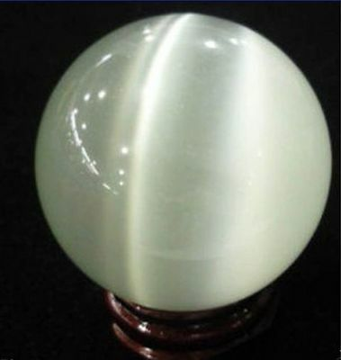 40mm White Mexican Opal Sphere Crystal Ball Gemstone + Stand