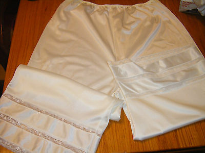 Vtg ADONNA  WHITE Petti Pants Bloomers Panties Shorts Slip  SIZE MEDIUM