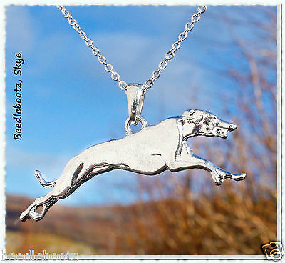 Graceful Greyhound Necklace, Silver Plated. Leaping Lurcher.