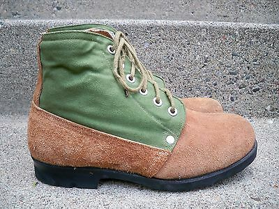 Vintage WWII WW2 Swedish Wool Lined Combat Military Men's Leather Boots Size 8