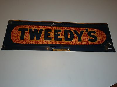 Tweedy's farm corn advertising sign metal original agriculture seed double sided