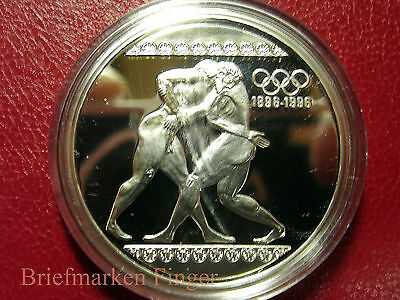 GRIECHENLAND 1000 Drachmai 1996 Silber PP 100 Jahre Olympiade - Ringer     / 2