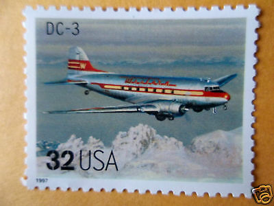 Mint US commemorative postage airplane stamp Classic American Aircraft DC 3
