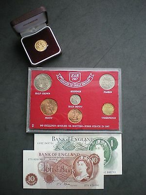1967 Gold Sovereign Coin & Note set 50th Birthday or Wedding Anniversary Gift