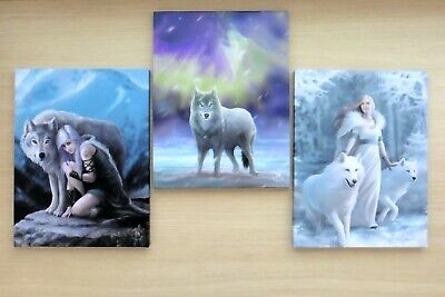 Set Of 3 Wolf Wolves Wall Plaques ~ Anne Stokes Prints ~ Stunning!