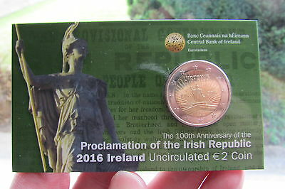 2016 €2 COIN IN BLISTER PACK.BU,100th ANNIVERSARY OF 1916 EASTER RISING.