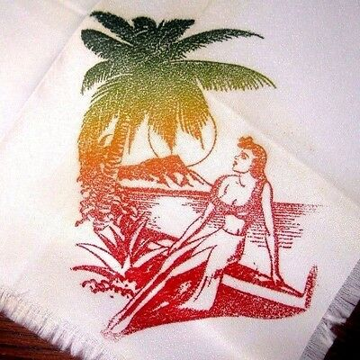 Vintage Lot of 6 Cocktail Napkins Hawaii Palm Tree Pin Up Girl by the Ocean
