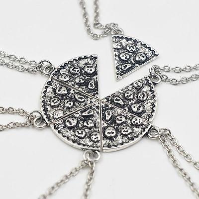 1 Pcs Silver Plated  Pizza Bead Dangle Pendant Charm Chain Necklace Unisex IP3
