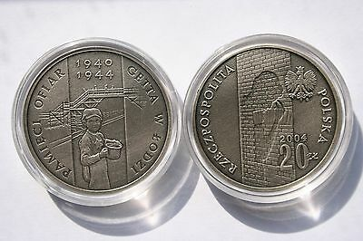 Poland 20 PLN 2004 SILVER Ag925 oxidized In the Memory of Lodz Ghetto Victims
