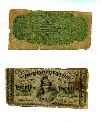 1870 .25 Canada Currency Note Good 2515J