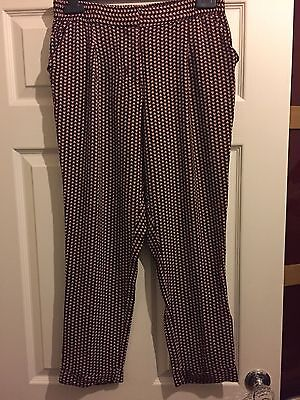 Next Printed Cigarette Pants Trousers - Rusty Berry Size 12