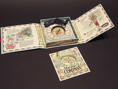 Antique Style Educational Maritime Pocket Kids Compass Necklace w booklet, Facts