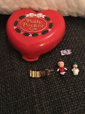 100% Complete Vintage Polly Pocket Christmas Compact With Original Figures 1989