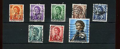 Hong Kong.8 --1962 Qe2 Used Defin Stamps On Stockcard.