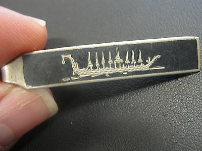 Old Silver Thailand Tie Clip Hair Pin Jewelry 1 1/2 inch
