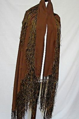 Antique 1800S Chocolate Pure Silk Fringe Piano Shawl