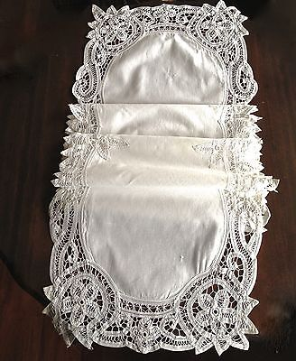 Vintage Table Runner   Cotton Tape Lace
