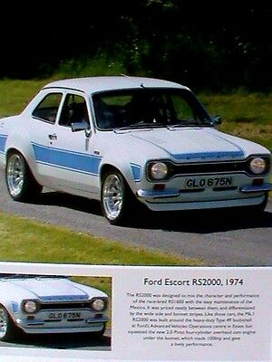 Ford Escort RS2000 1974 Photographic Framed Print Under Glass. A Great Gift.