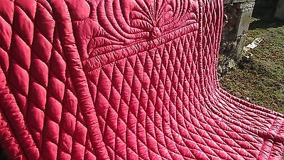 DIVINE VINTAGE FRENCH HANDCRAFTED SHABBY ROSE PINK  BOUTIS QUILT/THROW c1930's