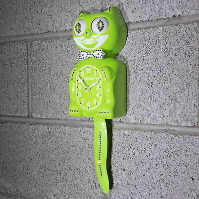"""Lime Green Chartreus Male JEWELED FULL SIZE 15.5"""" Official Kat Kit Cat Clock NEW"""